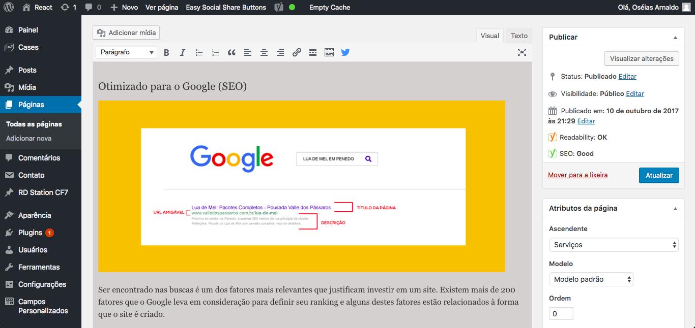 Criação de site com área administrativa em WordPress