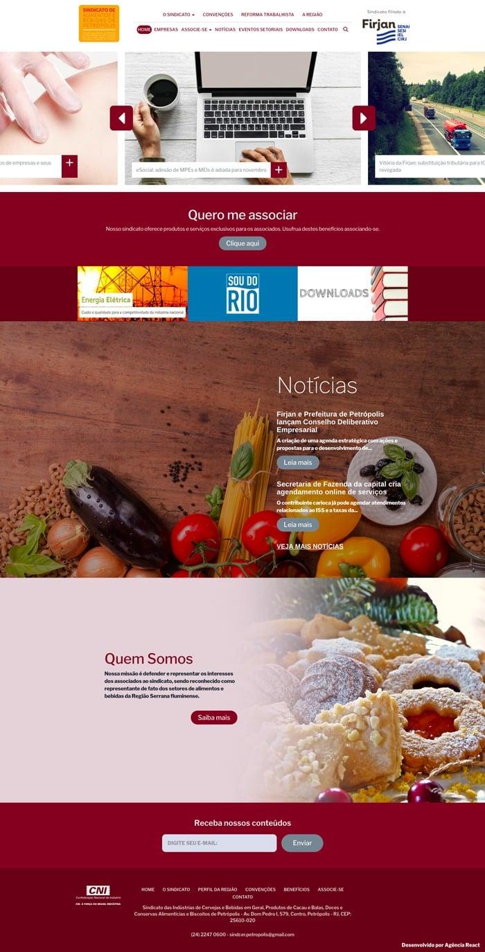 Página Inicial do Site do Sindicer (Petrópolis)