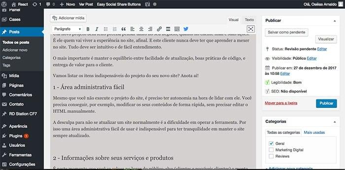 Área administrativa do WordPress